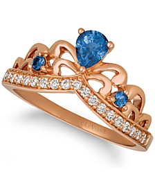 Blueberry Sapphire (1/3 ct. t.w.) & Nude Diamond (1/5 ct. t.w.) Tiara Ring in 14k Rose Gold