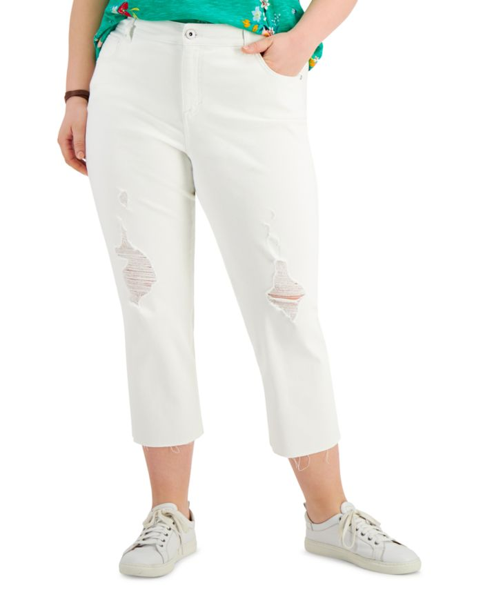 Style & Co Plus Size Ripped Cropped Jeans, Created for Macy's & Reviews - Jeans - Plus Sizes - Macy's
