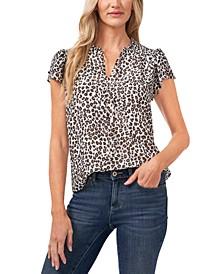 Flutter-Sleeve Leopard-Print Blouse