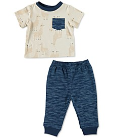 Baby Boys 2-Pc. Llama-Print Top & Jogger Pants Set