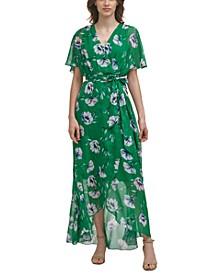 Petite Floral-Print Split-Sleeve Maxi Wrap Dress
