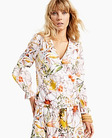 INC Plus Size Puff-Sleeve Surplice Blouse, Created for Macy's