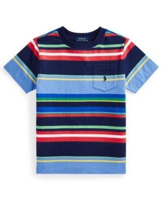 폴로 랄프로렌 Polo Ralph Lauren Little Boys Striped Jersey Pocket T-shirt,Newport Navy Multi