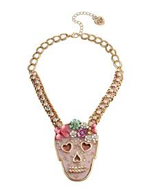 Floral Skull Pendant Necklace