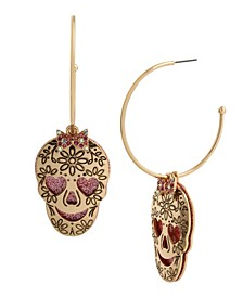 Skull Charm Convertible Hoop Earrings