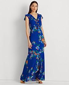 Floral Crinkle Georgette Gown
