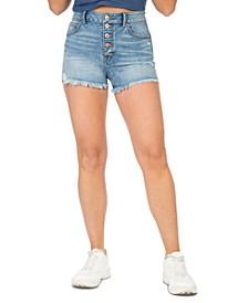 Juniors' Super High-Rise Wedge Jean Shorts