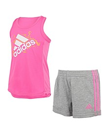 Toddler Girls Sleeveless Tank Top and French Terry Shorts Set