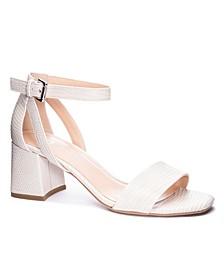 Women's Big Heart Block Heel Sandals