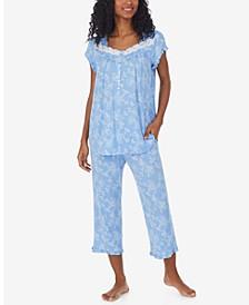 Ruffled Lace-Trim Capri Pants Pajama Set