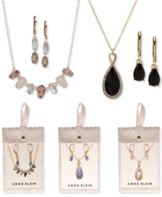 Pavé & Stone Pendant Necklace & Drop Earrings Set