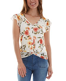 Juniors' Floral Flutter-Sleeve Top