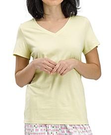 Solid Short-Sleeve V-Neck Pajama T-Shirt