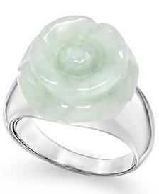 Jade (16mm) Carved Flower Ring in Sterling Silver