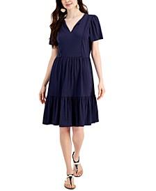 Split Neck Pom-Pom-Trim Dress, Created for Macy's
