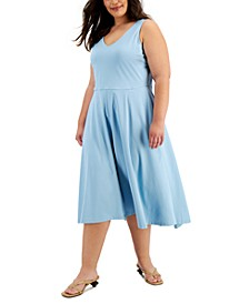 Solid V-Neck Midi Tank Dress, Created for Macy's