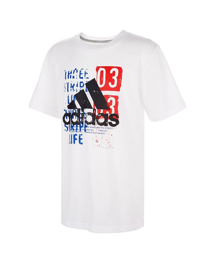 adidas Big Boys Short Sleeve 3-Stripes Badge of Sport Tee ...