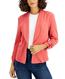 Knit-Crepe Ruched-Sleeve Blazer, Created for Macy's
