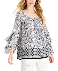 Mixed-Print Ruffled-Sleeve Blouse