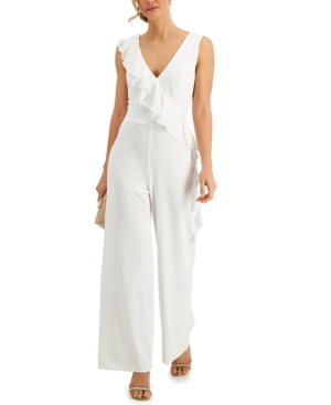 Embroidered-Ruffle Jumpsuit