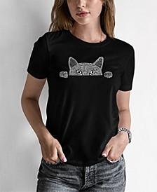 Women's Word Art Peeking Cat T-Shirt
