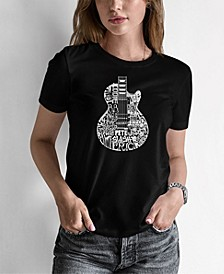 Women's Word Art Rock Guitar Head T-Shirt