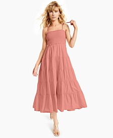 INC Petite Cotton Tie-Shoulder Smocked Dress, Created for Macy's