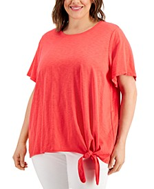 Plus Size Solid Side-Tie Top