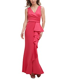 Petite Side-Ruffle Gown