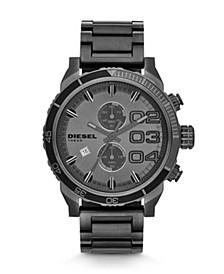 Mens Double Down 48 Chronograph Gunmetal Stainless Steel Watch