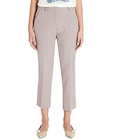 Printed Onore Straight-Leg Cropped Pants