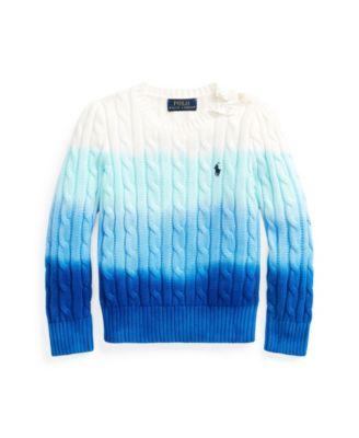 폴로 랄프로렌 여아용 타이다이 꽈배기 니트 스웨터 Polo Ralph Lauren Little Girls Dip-Dyed Cable-Knit Sweater,Ocean Blue