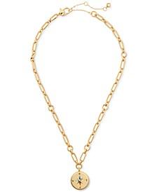 "Gold-Tone Compass Pendant Necklace, 17"" + 3"" extender"