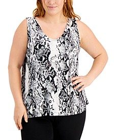 Plus Size Snakeskin-Print Tank Top, Created for Macy's