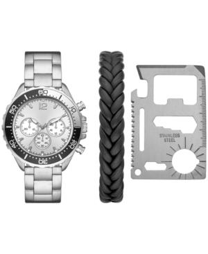 Men's Silver-Tone Bracelet Watch 46mm Gift Set