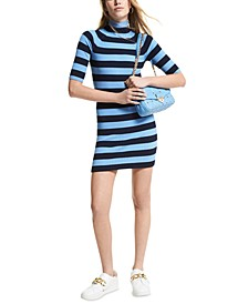 Striped Ribbed Sweater Dress