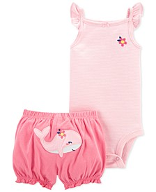 Baby Girls 2-Piece Flutter Bodysuit and Short Set