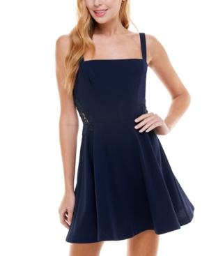 Juniors' Lace Applique Fit & Flare Dress