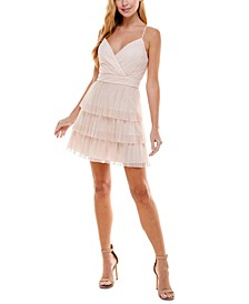 Juniors' Glitter Tulle Fit & Flare Dress