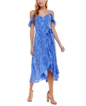 Juniors' Faux-Wrap Midi Dress