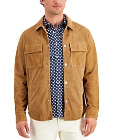 Men's Perforated Suede Shirt Jacket