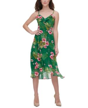 Tropical-Print Midi Dress