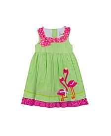Toddler Girls Flamingo Applique Seersucker Dress