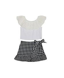 Little Girls Gingham Skirt Set, 2 Piece Set