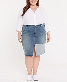Plus Size Denim Midi Skirt