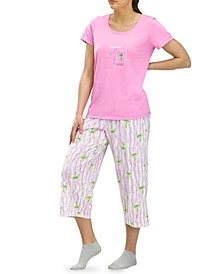 Positive Thought Palm Tree Capri Pajama Pants Set