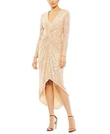 Sequined Twist-Front Dress