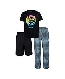 Big Boys 3 Piece Shark Bite Pajama Set