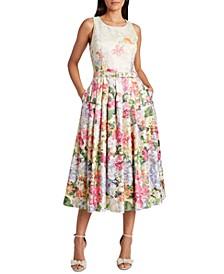 Jacquard Pleated-Skirt Dress