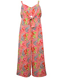 Big Girls Pebble Crepe Jumpsuit with Buttons and Tie Front